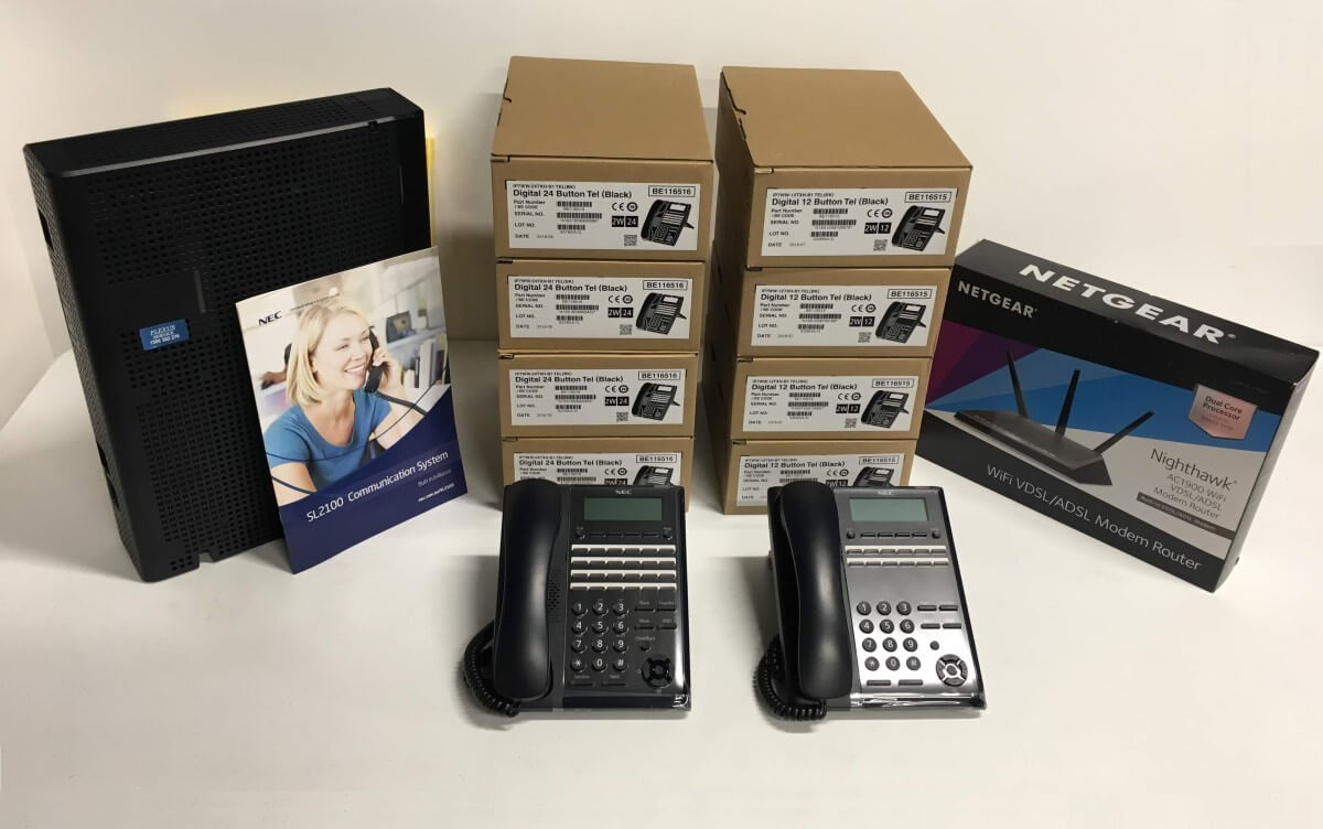 NEC SL2100 Phone System with 8 Phones and Router